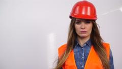 Woman structural engineer in helmet. 4K Stock Footage