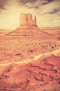 Retro old film style photo of Monument Valley, Utah, USA. Stock Photos