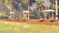 Deckchairs and parasols on a sandy tropical beach Stock Illustration