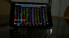 4k footage display of Stock market quotes On-screen tablet Stock Footage