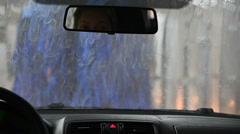 Automatic Car Wash. View from Inside. Stock Footage