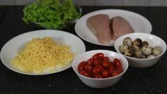 Stock Video Footage of Ingredients for Caesar salad