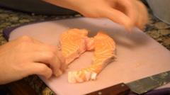 Deboning Of Raw Juicy Salmon Stock Footage