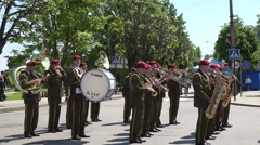 Ceremonial military brass instrument parade in street. 4K Stock Footage