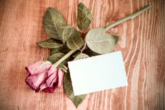 Stock Photo of Rose and blank card on wooden table