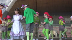 Ballet dancers girls in costumes theatrical performance. 4K Stock Footage