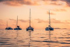 Recreational Yachts at the Indian Ocean Stock Photos