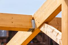 Construction of new wooden house Stock Photos