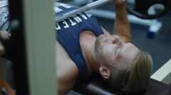 The guy has been in the gym bench press Stock Footage