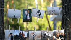 Collage of nine wedding photos Stock Footage