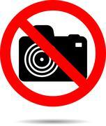 Ban photo icon label - stock illustration