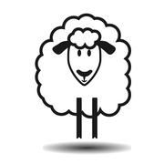 cute funny lamb flat vector icon - stock illustration