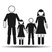 dad mom daughter and son flat vector - stock illustration