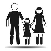 dad mom and daughter flat vector - stock illustration