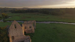 Aerial view of  Newark Priory, Ripley, Surrey, UK Stock Footage