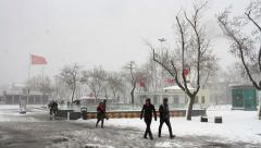 Snowy winter morning at Kadiköy Pier. Crippling winter weather sweeps from North Stock Footage