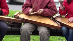 Girls and teacher play with baltic psaltery instrument. 4K Stock Footage