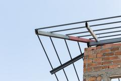 steel beams roof truss residential building construction industry - stock photo
