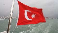 Turkish Flag waving on an Istanbul Ferry Stock Footage