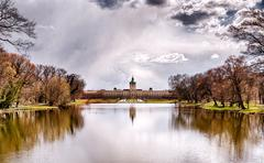 HDR shot of Schloss Charlottenburg Berlin with dramatic sky and lake Stock Photos
