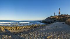 Montauk Point Light, Lighthouse, Long Island, New York, Suffolk County Stock Photos