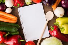 Vegetable recipe menu notes - stock photo