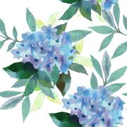Stock Illustration of Watercolor  pattern of Hydrangea flowers