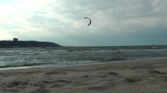 Kitesurfing on the beach, Sandy HOOK area. It was cloudy and chilly day, but som - stock footage