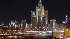 Dusk view of the Kotelnicheskaya Embankment Building, one of the Seven Sisters Stock Footage