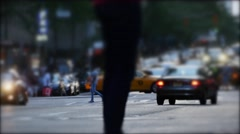 Crowd of people crossing street in new york city. workers commuting background Stock Footage