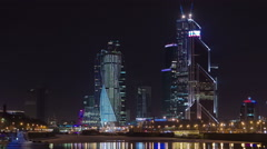 Skyscrapers International Business Center City at night timelapse hyperlapse - stock footage