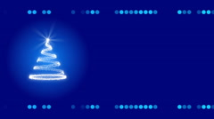 Blue abstract background, christmas tree and frame, loop Stock Footage