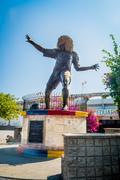 Statue of former football player Pibe Valderrama in Santa Marta, Colombia - stock photo