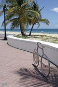 Bike Shaped Bicycle Rack at the Beach - stock photo