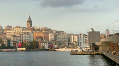 Stock Video Footage of Galata Tower and Bridge, Zoom out