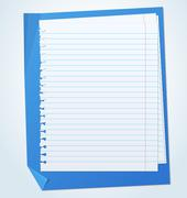 Lined exercise sheets and sheet of blue paper with crumpled edges - stock illustration