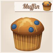 Muffin with blueberry. Detailed Vector Icon Stock Illustration