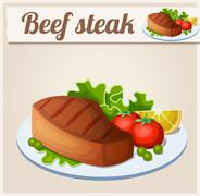 Beef steak. Detailed Vector Icon Piirros