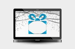gift with ribbons and confetti on laptop screen - stock illustration