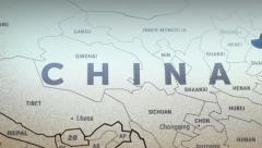 China On World Map  Stock Footage