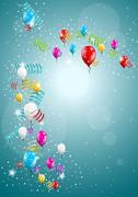 Flying balloons on blue background Stock Illustration