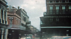 1959: New Orleans bourbon street, jackson square, and stone crypts cemetery Stock Footage