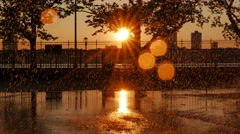Summer day sunset background. rain and sun. colorful orange magic hour light. Stock Footage