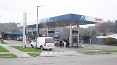 Petrol/gas station Pucon - Chile Stock Footage