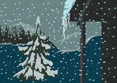Spruce and snow Stock Illustration