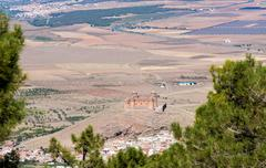 Castle on hilltop above La Calahorra Spain - stock photo