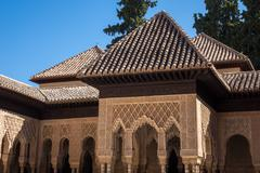 Ornate roof in Alhambra palace Granada - stock photo