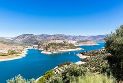 Stock Photo of Olive trees around Lake Iznajar in Andalucia