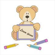 Teddy bear with pencils Stock Illustration
