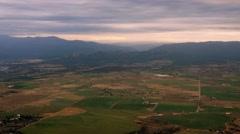 Mountain Valley Farmland Aerial, 4K Stock Footage
